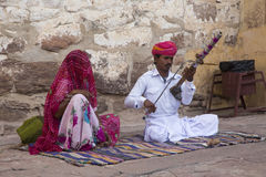Musiker på det Mehrangarh fortet, Jodhpur, Rajasthan, Indien Royaltyfria Bilder