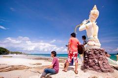 Musiker på stranden Fotografering för Bildbyråer