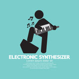 Musiker-Playing An Electronic-synthesizer stock abbildung