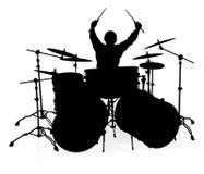Musiker-Schlagzeuger Silhouette Stockfotografie