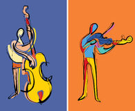 musiker som leker två stock illustrationer