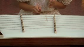 Musiker som spelar den träbultade cymbalen stock video