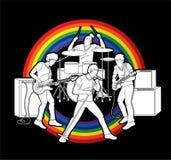 Musiker som spelar musik tillsammans, vektor för musikmusikbanddiagram vektor illustrationer