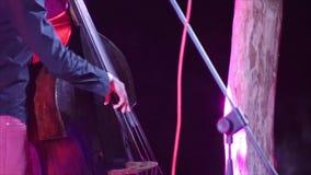 Musiker som spelar på en kontrabas 4k arkivfilmer