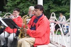 Musiker som spelar trumpeter i parkera royaltyfri foto
