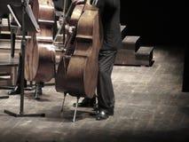Musiker som spelar violoncellmusikinstrument på etapp i konserthall fotografering för bildbyråer