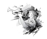 Musiker, Trompeter Auch im corel abgehobenen Betrag Stockfotografie