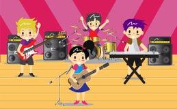 Musiker und Musikinstrumente Rockband, Musikgruppe mit Musikerkonzept von künstlerischen Leuten vector Illustration Stockfotos