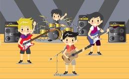 Musiker und Musikinstrumente Rockband, Musikgruppe mit Musikerkonzept von künstlerischen Leuten vector Illustration Stockbilder
