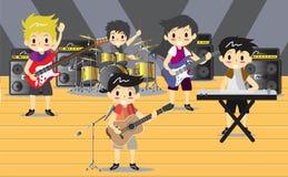 Musiker und Musikinstrumente Rockband, Musikgruppe mit Musikerkonzept von künstlerischen Leuten vector Illustration Lizenzfreie Stockfotos
