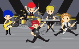 Musiker und Musikinstrumente Rockband, Musikgruppe mit Musikerkonzept von künstlerischen Leuten vector Illustration Stockfotografie