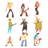 Musiker und Sänger von den verschiedenen Musik-Arten, die am Stadium im Konzert-Satz Zeichentrickfilm-Figuren durchführen vektor abbildung