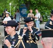 Musiker vom französischen Armeesignal-Korpsband Stockfotografie