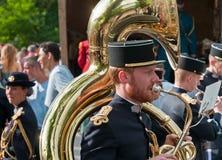Musiker vom französischen Armeesignal-Korpsband Lizenzfreie Stockfotos