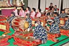 Musiker von Wayang Kulit in Yogyakarta auf Java, Indonesien. Lizenzfreie Stockbilder