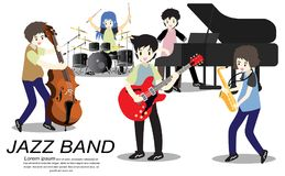 Musikerjazzband, lekgitarr, basist, piano, saxofon Jazzband Vektorillustration som isoleras på bakgrund i tecknad filmstil vektor illustrationer