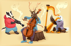 Musikerkarikaturtiere Stockfotografie