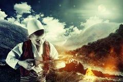 Musikerkind, das Instrument spielt Lizenzfreies Stockbild