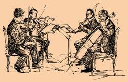 Musikerkvartett vektor illustrationer