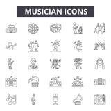 Musikerlinje symboler, tecken, vektoruppsättning, linjärt begrepp, översiktsillustration vektor illustrationer