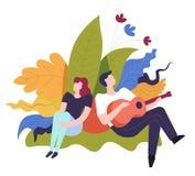 Musikerman som spelar gitarren, radmusikinstrumentaktör vektor illustrationer