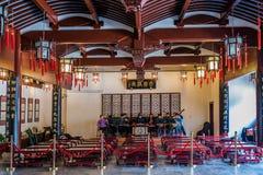 Musikerorchester, das Tempel Shanghai c Wen Miaos Konfuzius spielt Stockbild