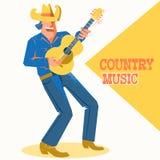 Musikersångareman i cowboyhatten som palying gitarren Land mu royaltyfri illustrationer