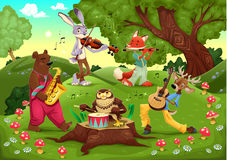 Musikertiere im Holz. Stockfoto