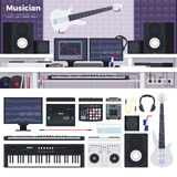 Musikerworkspace med musikinstrument Arkivfoton