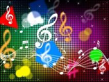 Musikfärgbakgrund visar klassisk deppighet eller pop Arkivfoto