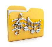 Musikfaltblatt mit Anmerkungssymbolen. Ikone 3D Stockfoto