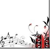 Musikfeld mit Lautsprechern und Blumen Stockfoto