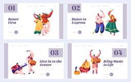 Musikfestival i uppsättning för Indien landningsida Musiker Playing Musical Instrument Dhol, vals, flöjt och Sitar på den natione vektor illustrationer
