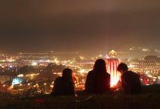 Musikfestival på natten Royaltyfri Fotografi