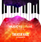 Musikfestival-Plakathintergrund Jazzklavier-Musikcafé fördernd Lizenzfreie Stockfotos