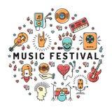 Musikfestival-Plakatschablone, musikalische Collage, Linie Kunstikonen vektor abbildung