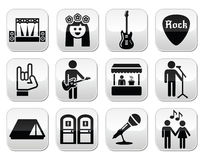 Musikfestivalen, levande konsertvektorknappar ställde in Arkivfoto