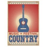Musikfestivalhintergrund mit Gitarre Vektor auf Weiß Lizenzfreie Stockfotografie