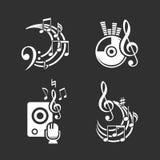 Musikgestaltungselemente und Anmerkungsikonen Lizenzfreie Stockbilder
