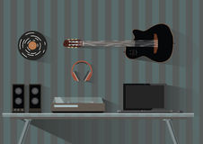 Musikgrejer och instrument Musiker discjockey, Geekarbetsplats i plan stil också vektor för coreldrawillustration vektor illustrationer