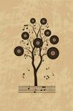 Musikgrungebakgrund med trädet Fotografering för Bildbyråer