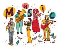 Musikgruppenleute-Isolatweiß Stockfoto