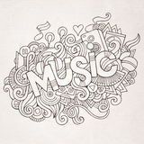 Musikhandbeschriftung und Gekritzelelemente Stockfoto