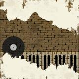 Musikhintergrund-Klavierschlüssel in einer Backsteinmauer stock abbildung