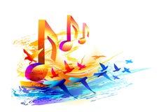 Musikhintergrund mit Anmerkungen 3d und Fliegenvögeln Lizenzfreies Stockbild