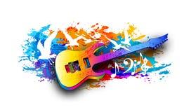Musikhintergrund mit E-Gitarre, musikalischen Anmerkungen und Fliegenvögel Digital-Aquarellmalerei Lizenzfreie Stockfotografie