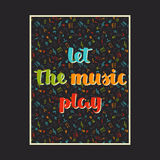 Musikhintergrund mit Hand gezeichneten Wörtern ließ das Musikspiel und die verschiedenen musikalischen Symbole Lizenzfreie Stockbilder