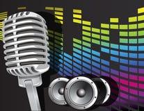 Musikhintergrund mit Mikrofon Lizenzfreies Stockfoto