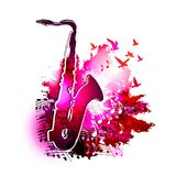 Musikhintergrund mit Saxophon, musikalischen Anmerkungen und Fliegenvögel Digital-Aquarellmalerei Lizenzfreies Stockbild