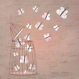 Musikhintergrund mit Schmetterlingen Stockfoto